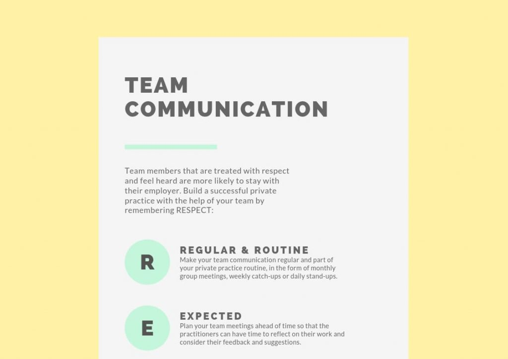 team communication private practice infographic cover