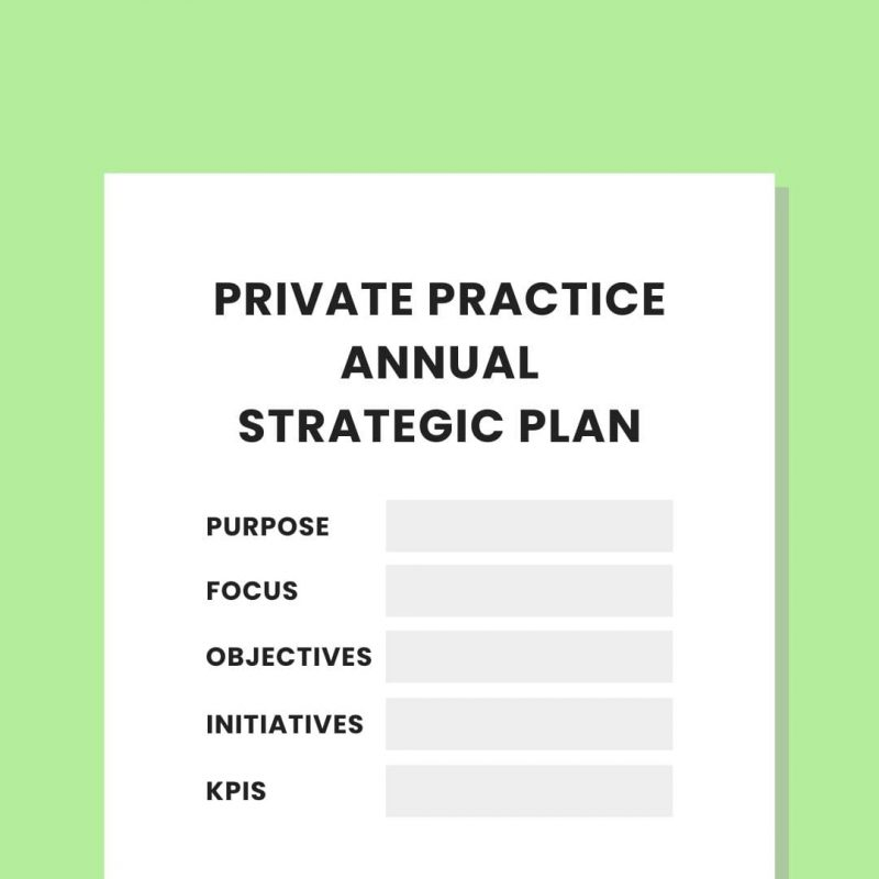 Private practice strategy template